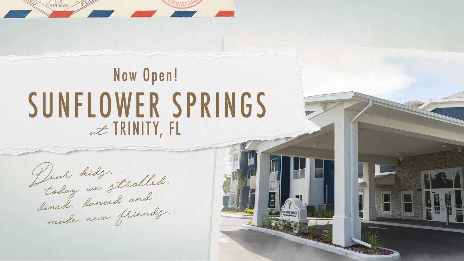 Sunflower Springs at Trinity an assisted living and memory care community now open in Trinity FL
