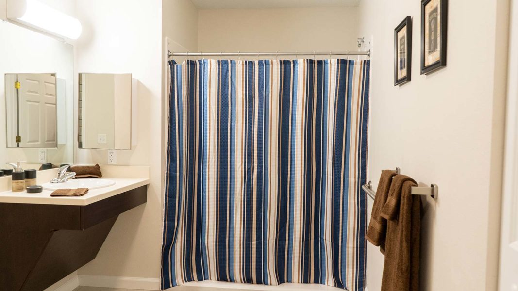 Assisted Living Studio Bathroom With Sing, Walk-in Shower And Toilet