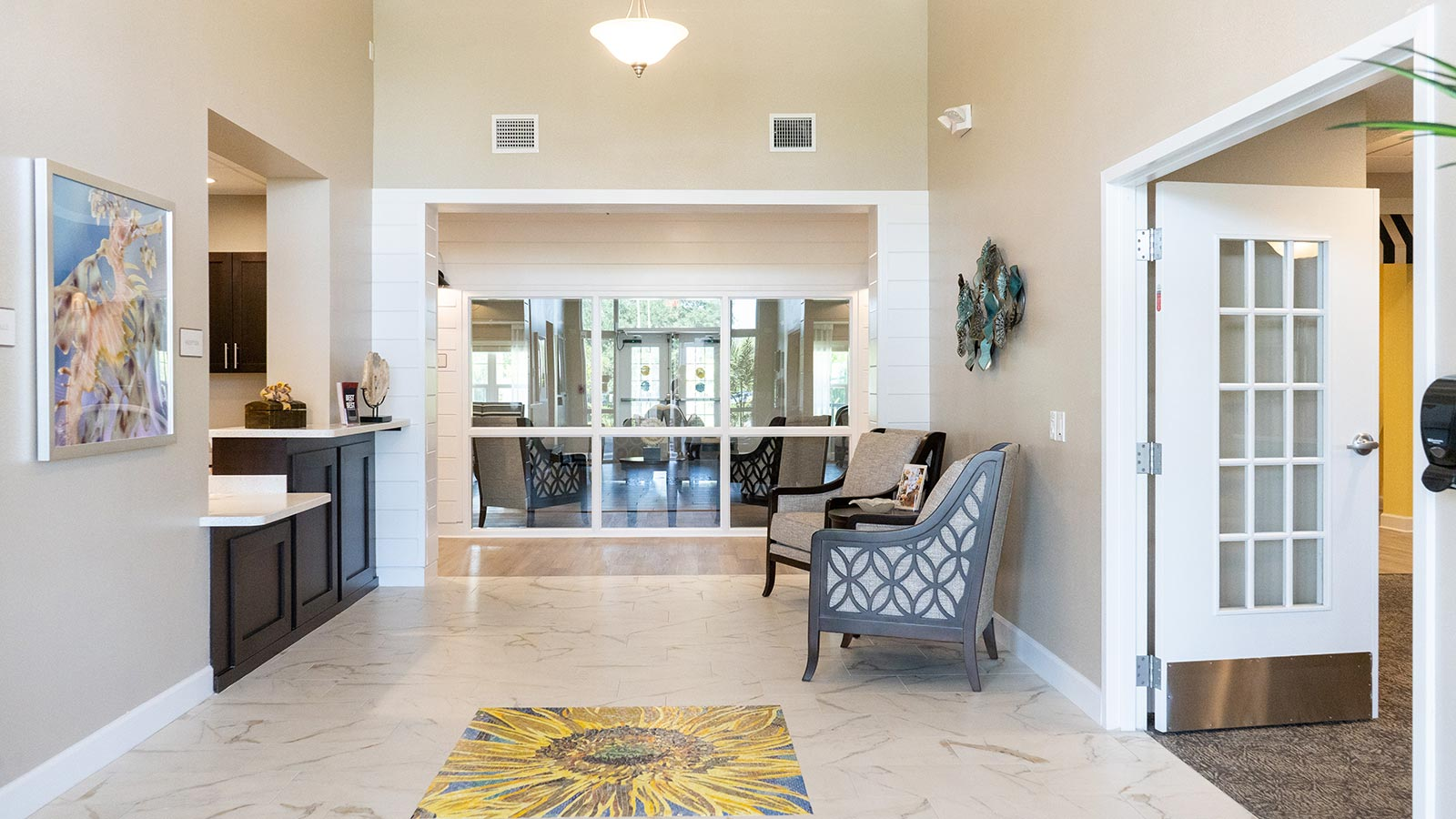Sunflower Springs at Trinity main lobby and concierge desk