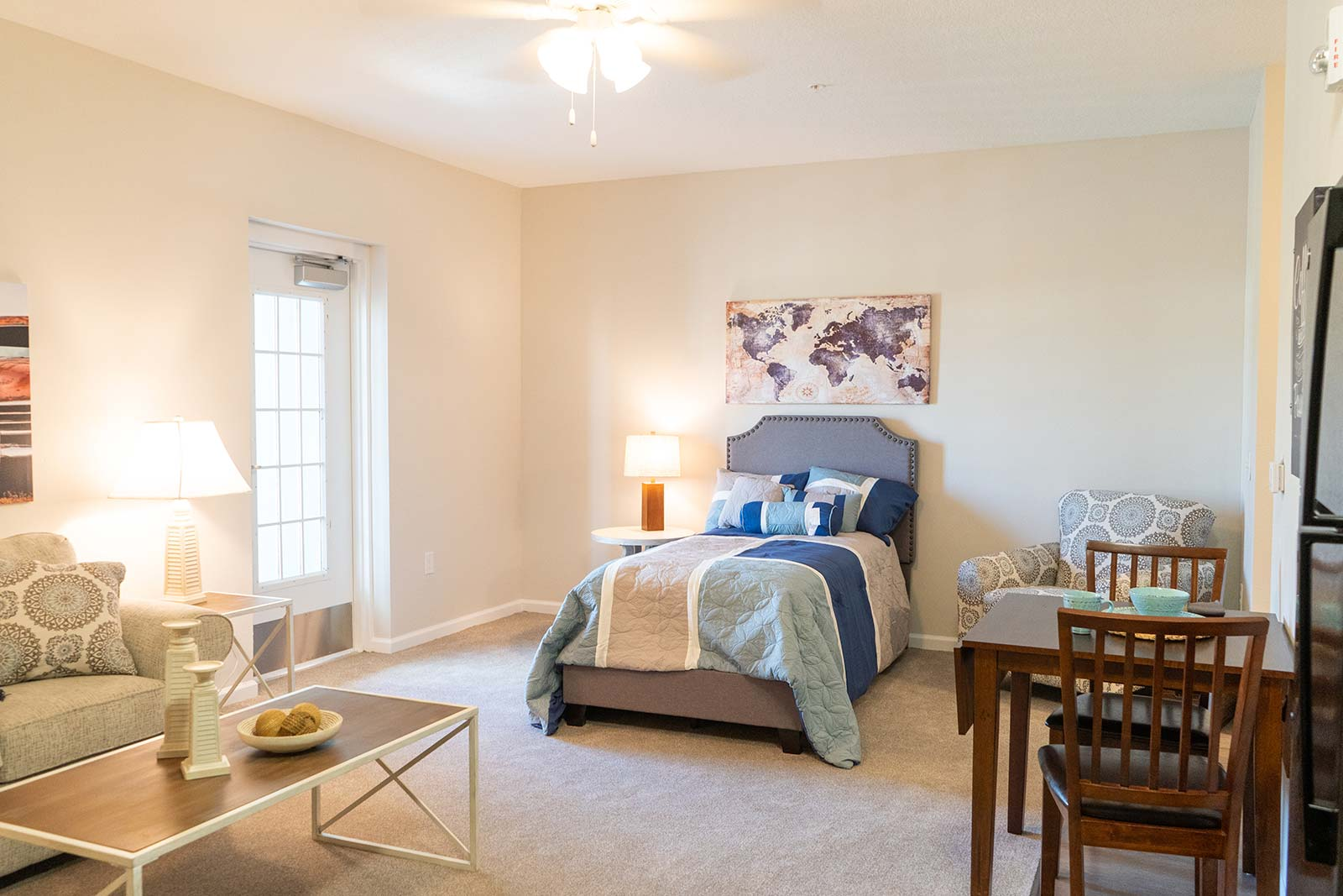 Studio apartment at Sunflower Springs at Trinity assisted living community